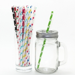 Rose Gold Paper Straws Polka Dot Printed Paper Straws