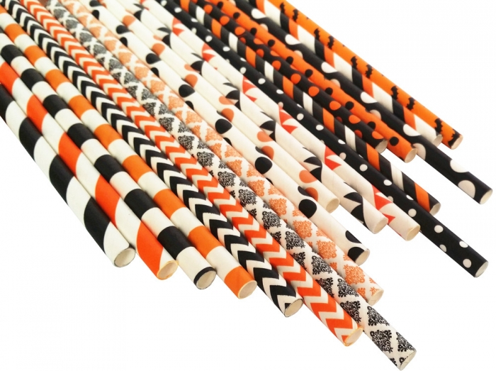 halloween paper straws mix orange paper straws and black paper straws wholesale